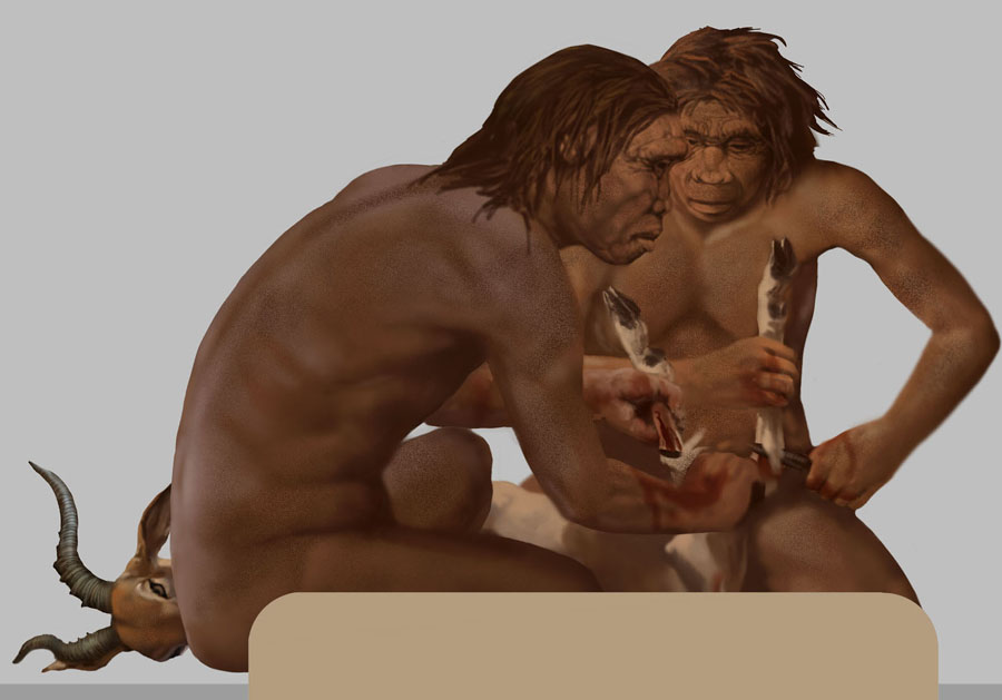 Homo habilis butchering with stone-flake knives by Karen Carr