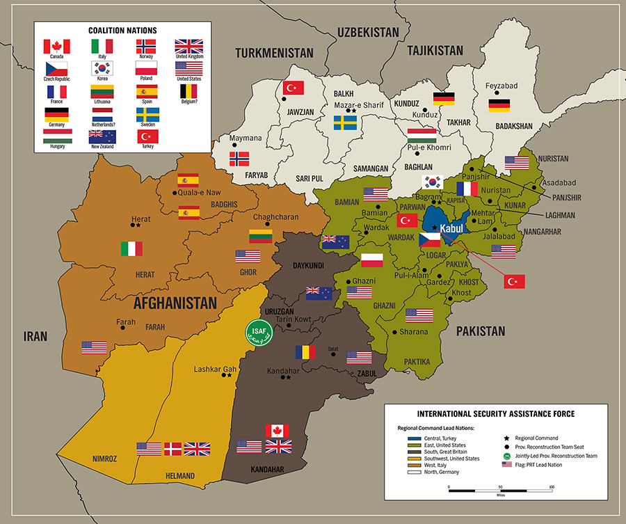 Map of the Coalition Deployment in Afghanistan by Karen Carr