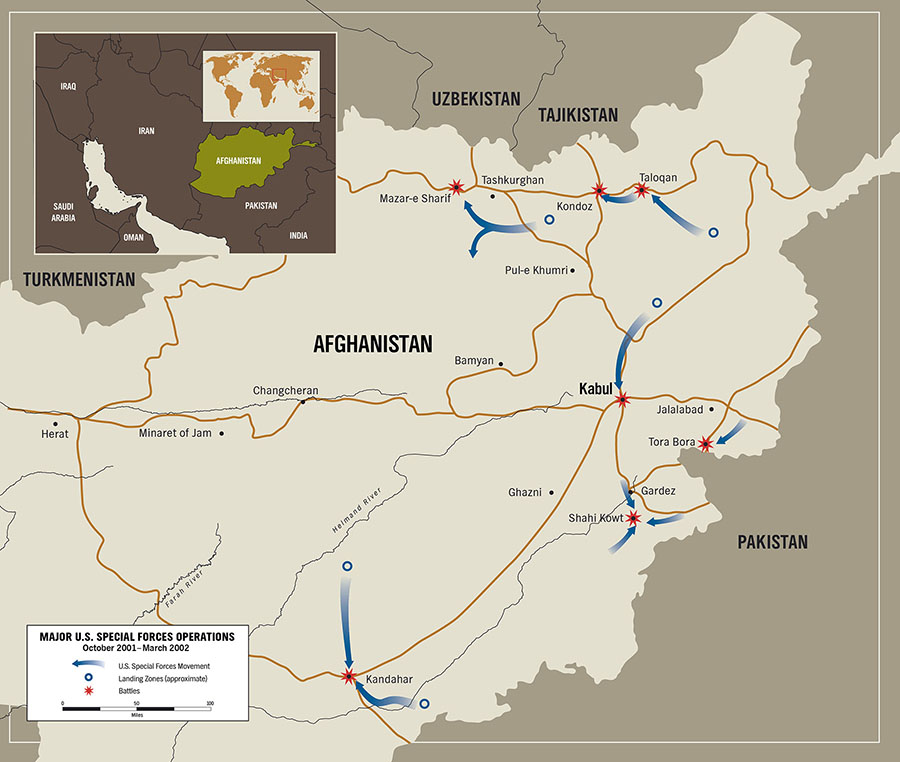 Map of Major Special Forces Operations in Afghanistan by Karen Carr