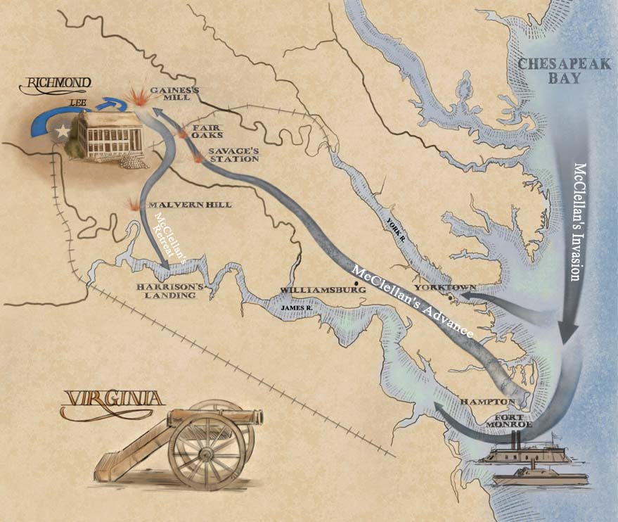 US Civil War map Penissula Campaign by Karen Carr