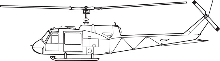 UH-1E helicopter side view by Karen Carr